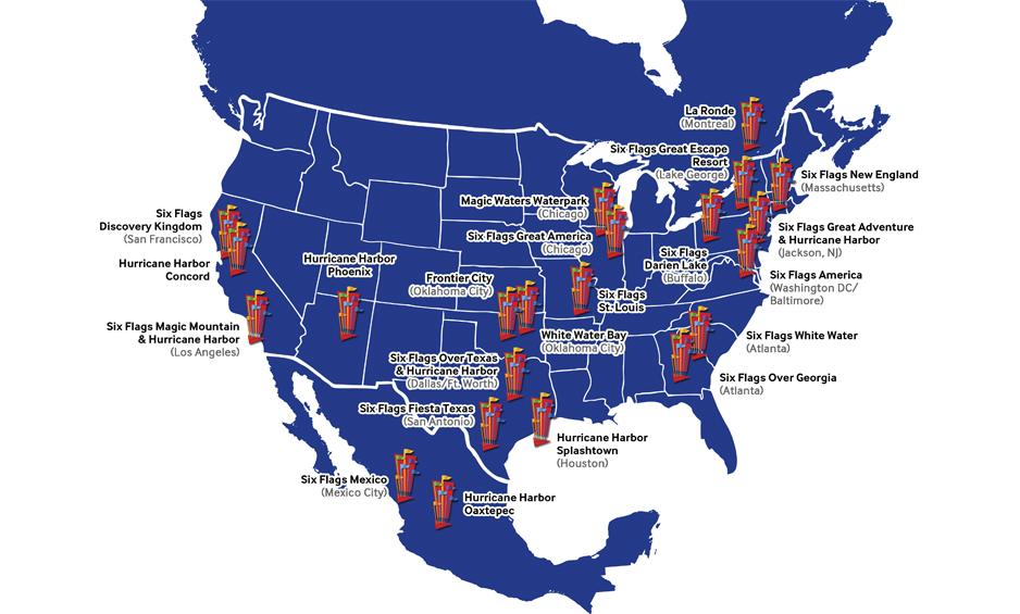 Six Flags - 18 Parchi strategicamente posizionati